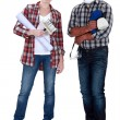 Male and female decorators — Stock Photo