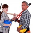 Stock Photo: Father and daughter starting construction project together