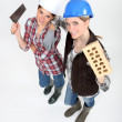 Female bricklayers — Stock Photo #16807493