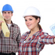 Hardworking blue collar worker - Stock Photo