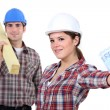 Stock Photo: Hardworking blue collar worker