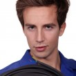 Man with cable reel — Stock Photo