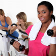 Three women in gym — Stock Photo #16807855