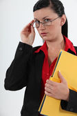 Woman with office files — Stock Photo