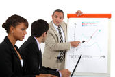 Businessman explaining a line graph — Stock Photo