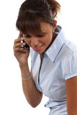 Closeup of a Metis girl on the phone — Stock Photo