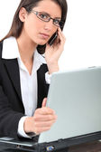 Careful woman on phone — Stock Photo