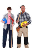 Couple ready for manual labor — Stock Photo