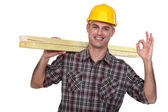 Carpenter giving ok gesture — Stock Photo