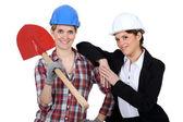 Женский архитектор и строитель — Стоковое фото