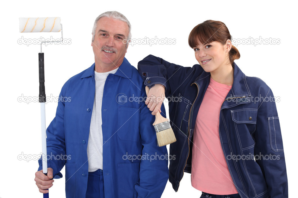 Painters standing on white background — Stock Photo #16801061
