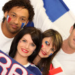 Two couple supporting French football — Stock Photo