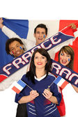A group of friends supporting the French football team — Stock Photo