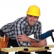 Stock Photo: Carpenter posing with power drill