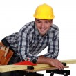 Stock Photo: Craftsmworking on board