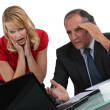 Stock Photo: Businessmand womfacing problem