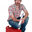 Astonished laborer — Stock Photo