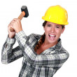 Stock Photo: Womconstruction worker getting mad