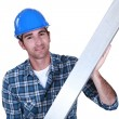 Craftsman metal ruler - Stock Photo