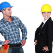 Proud architect and builder - Stock Photo