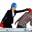 Co-workers fighting — Stock Photo