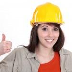 Positive female builder — Stock Photo