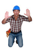 Trapped construction worker — Stock Photo