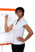 Afro-American businesswoman making a presentation — Stock Photo