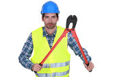 Workers with tongs — Stock Photo