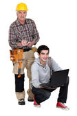 Laborer and young student — Stock Photo