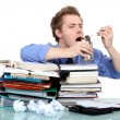 Stock Photo: Overwhelmed worker eating from tin