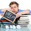 Student swamped under work — Foto Stock