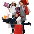 Three woman shopping together — Stock Photo