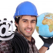 An electrician promoting the internet — Stock Photo #16847409