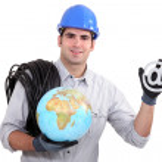 Electrician holding globe — Stock Photo