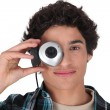 Stock Photo: Young mwith webcam