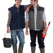 Two construction workers stood together — Stock Photo