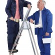 Stock Photo: Painter and his apprentice.