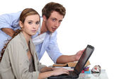 Two teenagers revising together — Stock Photo
