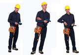 Multiple shit of carpenter holding various tools — Stock Photo
