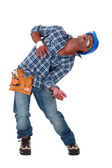 Injured tradesman hallucinating — Stock Photo