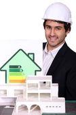 Consumo de energía del cartel y el diseño de casas — Foto de Stock