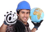 An electrician promoting the internet — Stock Photo