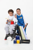 Children with paint cans — Stock Photo