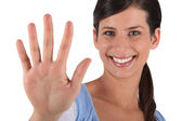 Woman with open palms — Stock Photo