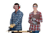 Craftsman and craftswoman together — Stock Photo