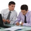 Two businessmen working on project — Foto Stock