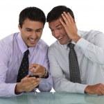 Two businessmen sharing jokes — Stock Photo