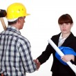 Royalty-Free Stock Photo: Architect and builder shaking hands