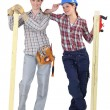 Female carpenters - Stock Photo
